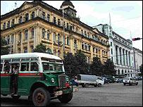 احد شوارع العاصمة رانغون
