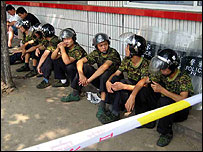 Riot police at the mine gates