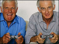 Older men playing video games, BBC