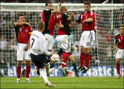 David Beckham takes a free-kick for England against Germany