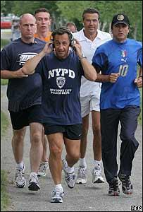 Nicolas Sarkozy haciendo deporte