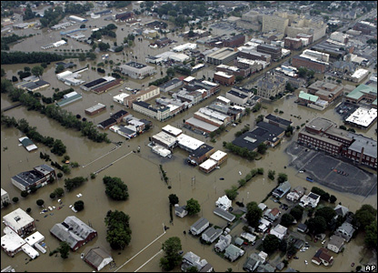 Streets in Findlay, Ohio, are shown surrounded by flood waters