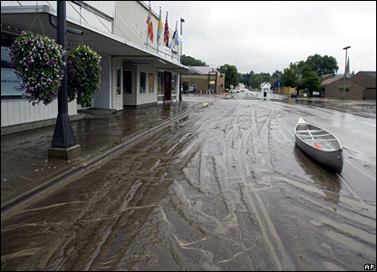 A canoe sits on a street in Rushford, Minnesota, after the flood waters receded