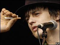 Pete Doherty smokes while performing at T in the Park in Glasgow
