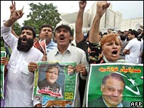 Supporters of Mr Sharif celebrate the Supreme Court ruling in Islamabad on 23 August 2007