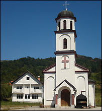 Serbian Orthodox church in Fata Orlovic's front yard - August 2007