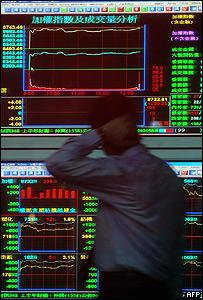 Pizarra de un mercado de acciones asi�tico
