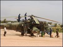 Mi-24 attack helicopter (registration number 928) at El Geneina airport (Photo: Amnesty International)