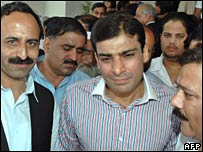 Hamza Shahbaz (C), nephew of former Prime Minister Nawaz Sharif, leaves the Supreme Court in Islamabad on 16 August 2007.