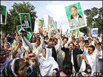 Supporters of deposed Pakistani Prime Minister Nawaz Sharif in Islamabad on Thursday 23 August 2007