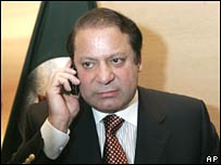 Former Pakistan Prime Minister Nawaz Sharif at a news conference in London on Thursday 23 August 2007