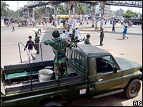 A soldier in a truck in Dhaka