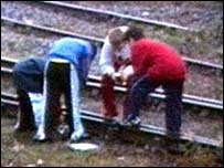 Vandals on railway