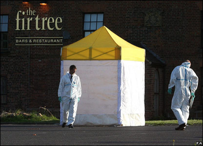 Forensic tent in pub car park, Thursday 23 August 2007