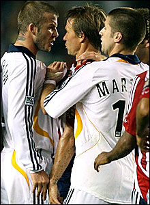 David Beckham confronts Chivas USA's Jesse Marsch