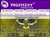 Screengrab from Monster homepage, Monster