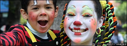 A clown and her son at annual Congress of Clowns in Mexico City