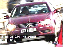 Speeding camera still of Vincent Pericard driving his Mercedes