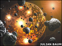 Artist's impression of planet bombardment (J Baum)