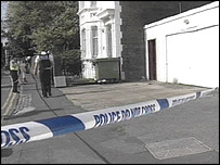 Police cordon off the scene of the stabbing