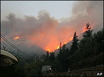 Fire consumes hillside forests in Taygetos, southern Peloponnese, Greece