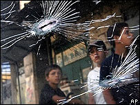 The shattered windscreen of the militants' car hit by Israeli troops in Jenin