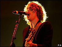 Razorlight singer Johnny Borrell at Reading on Friday
