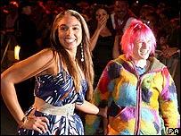 Kara-Louise Horne (left) and Tracey Banard leaving Big Brother