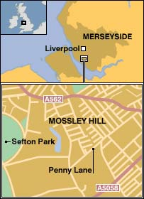 Map showing location of Penny Lane