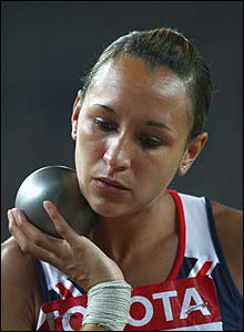 Ennis prepares herself during the shot put competition