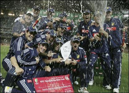 Victoria Bushrangers celebrate their win in this year's Big Bash final against Tasmania Tigers