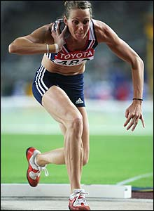 Kelly Sotherton in action during the shot put