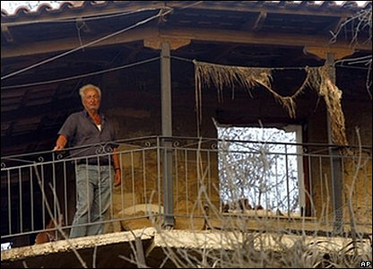 A man surveys his burned out home near Artemida, in western Greece