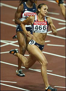 Jessica Ennis rounds the bend in the heptathlon 200m