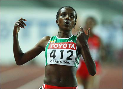 Ethiopia's Tirunesh Dibaba wins the 10,000m