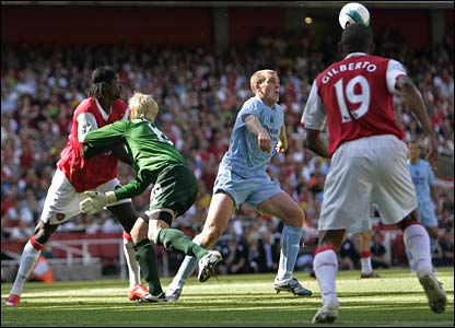 Manchester City keeper Kasper Schmeichel under pressure against Arsenal