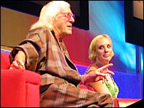 Sir Jimmy Savile and Kirsten O'Brien at the Edinburgh TV Festival