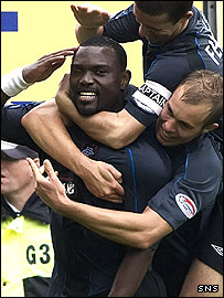 Jean Claude Darcheville is congratulated on his winning goal
