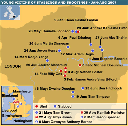 Map of stabbings and shootings of teenagers