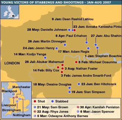 Map of stabbings and shootings of teenagers