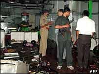 Hyderabad police investigate scene of one of the blasts
