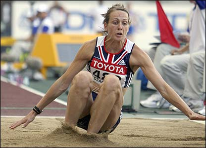 Britain's Kelly Sotherton in action in the long jump