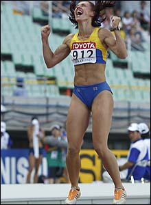 Lyudmila Blonska sets a personal best in the long jump