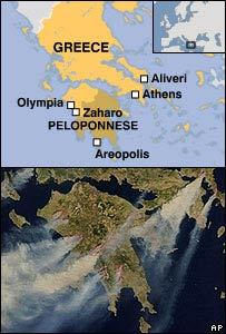map/ Nasa picture of fires on Greece
