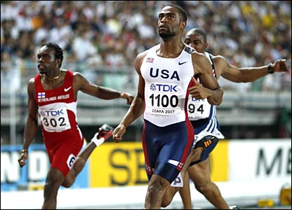 Tyson Gay wins his men's 100m semi-final