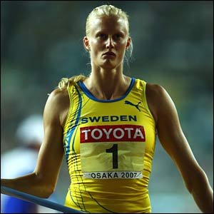 Heptathlon leader Carolina Kluft competes in the javelin