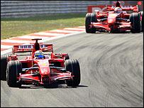 Felipe Massa heads Ferrari team-mate Kimi Raikkonen