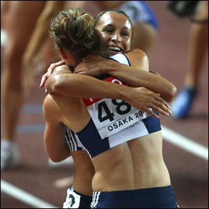 Kelly Sotherton and Jessica Ennis at the end of the heptathlon
