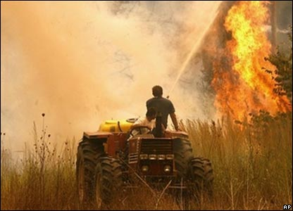 Farmers try to extinguish a fire in the village of Varvasena about 15km south of ancient Olympia.