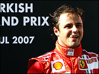 Felipe Massa on the podium after winning the Turkish Grand Prix